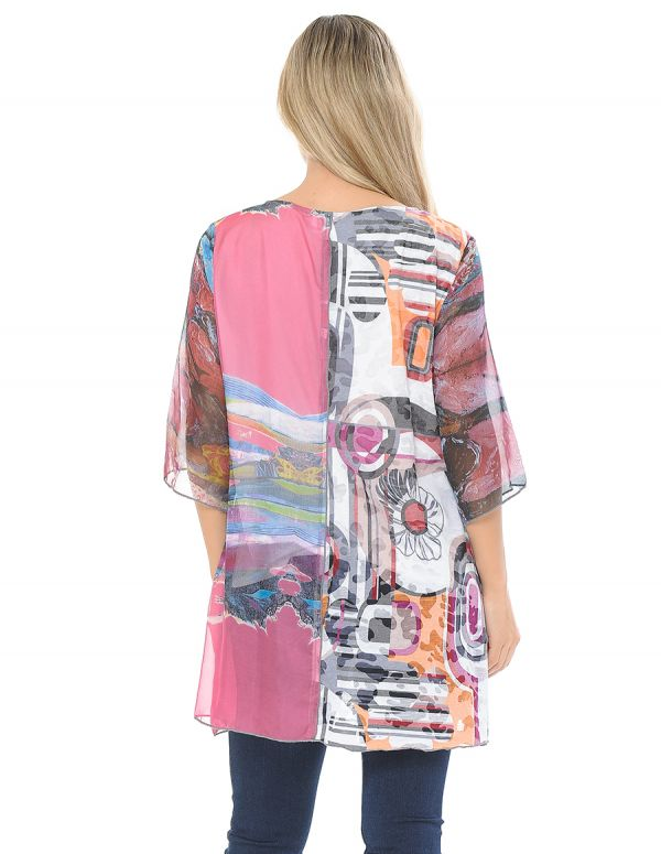 Abstract Print 3/4 Sleeve Patchwork Top