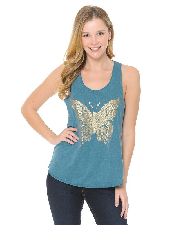 Gold Foiled Tribal Butterfly Tank