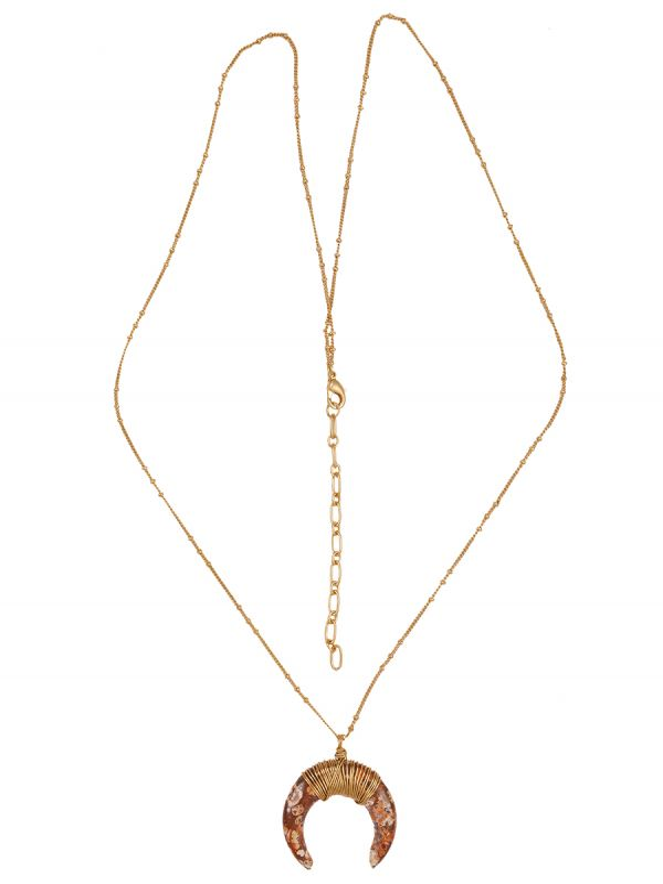Gemstone Horn Necklace