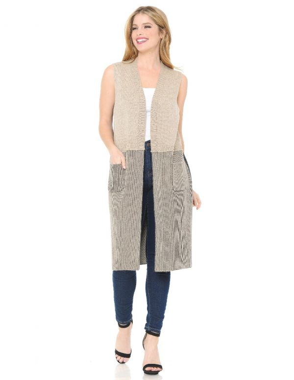 Knit Color Block Vest